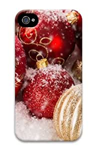 iPhone 4S/4 Case Cover - Christmas Ornaments 3D Polycarbonate Hard Back Cover for Apple iPhone 4S and iPhone 4