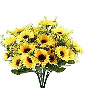 Artificial Fake Flowers 4 Pcs 6 Head Sunflowers Arrangement Home Wedding Outdoor Festive Party Decor UV Resistant Plants Shrubs Greenery for Window Box Patio Yard Indoor Garden Office Decor 105