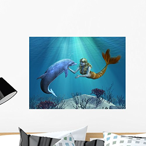 (Wallmonkeys Mermaid with Dolphin Undersea Wall Mural Peel and Stick Decals for Girls (24 in W x 18 in H) WM411107)