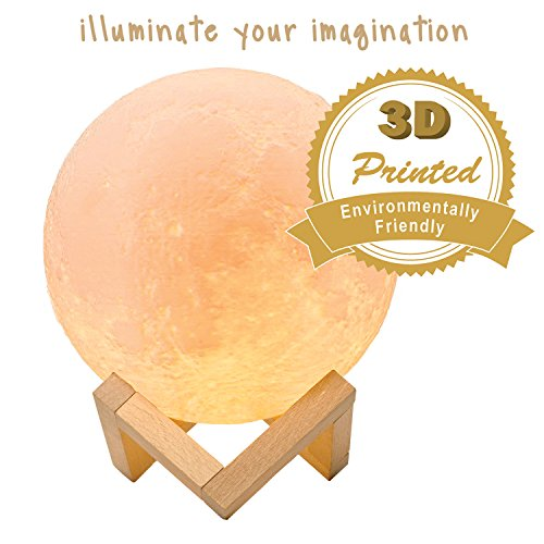 WeXOOM Moon Lamp With Stand | 3D Printed Night Light, Dimmable Touch Control, Rechargeable LED Decorative Light | Illuminate Your Imagination | 3 colors | 5.9 inches