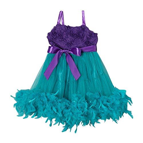 wenchoice Big Girls Purple Turquoise Feather Rosette Flower Girl Dress (Spectacular Flower Girl Dress)