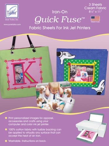Quick Fuse Iron-On Ink Jet Fabric Sheets 8.5x11 (June Tailor Inkjet Fabric Sheet)