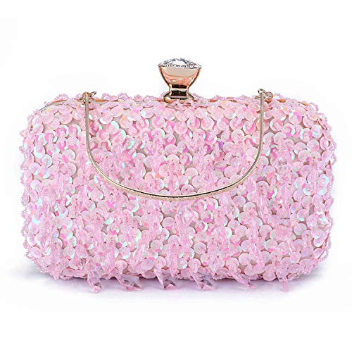 Handbag Color Multi Pink (UBORSE Women Clutch Wedding Purse Rhinestone Crystal Beaded Bags Cocktail Party Bridal Prom Handbag for Women (Pink))