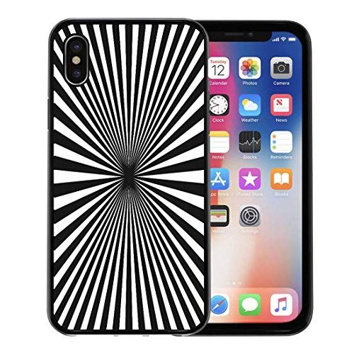 Radial Tile - Semtomn Phone Case for iPhone Xs case,Black White Sunburst Striped Diagonal Concentric Lines Geometric Tiles Abstract Monochrome Vintage Radial for iPhone X Case,Rubber Border Protective Case,Black