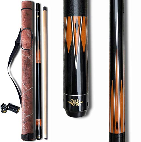 TaiBA 2-Piece Pool Stick with 1x1 Case,13mm Tip, 58, Hardwood Canadian Maple Professional Billiard Pool Cue Stick 19-22 Oz (Selectable)-Blue, Black, Red, Gray, Green, Brown
