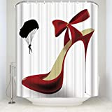 Yaoni Creative Sex Woman Decor, Red High Heels in Black Shower Curtain, Mildew Resistant Polyester Fabric Bathroom Bath Curtains Set with Hooks 48x72inch