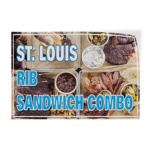 (Decal Sticker Multiple Sizes St. Louis Rib Sandwich Combo Business Rib Sandwich Outdoor Store Sign Aqua-Blue - 69inx46in, Set of 10)
