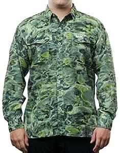 Aqua diseño hombres botón abajo Shoreline manga larga UPF protección solar camisa de camuflaje