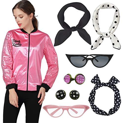 - Womens 50s Pink Lady Hot Pink Satin Jacket Halloween Fancy Dress Costume (M, White)