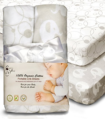 (100% Organic Cotton Sheets for Pack 'n Play and Other Portable/Mini Cribs, Gray/White Unisex 2 Pack, Playard or up to 5