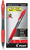Pilot G2 Retractable Premium Gel Ink Roller Ball Pens, Fine Point, Red Ink, Dozen Box (31022)