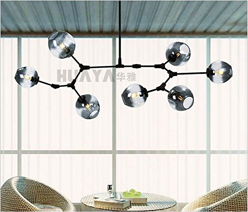 SJDF-Lindsey Adelman Globe Branching Bubble Chandelier 110v 110v Modern Chandelier Light Lighting,black smoke glass,1 light #317