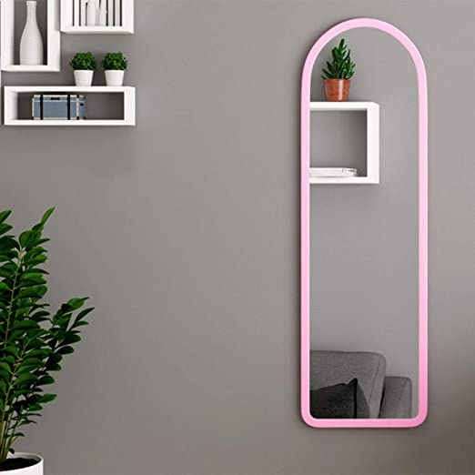 Hanging Wall Mirror Full Length Large Single Edge Plastic Frame Wall Mounted Mirror For Hallway Bathroom Dressing Room Color Pink Size 31x120cm Amazon Ca Home Kitchen