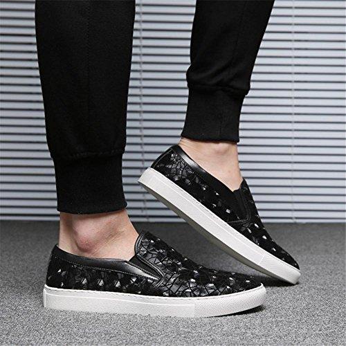 Hombres Mocasín Pisos Casual Cómodo Ajuste Ponerse Zapatos Respirable Negro marrón Black