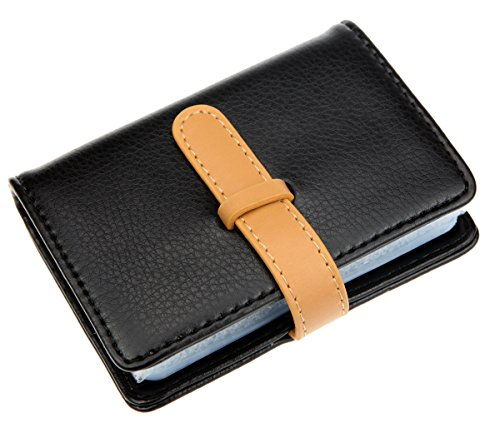 DKER PU Leather Credit Card Holder with 26 Card Slots - Book Style - Size 4.2 X 3 X 0.7 Inches (Black) (Leather Credit Card Case)