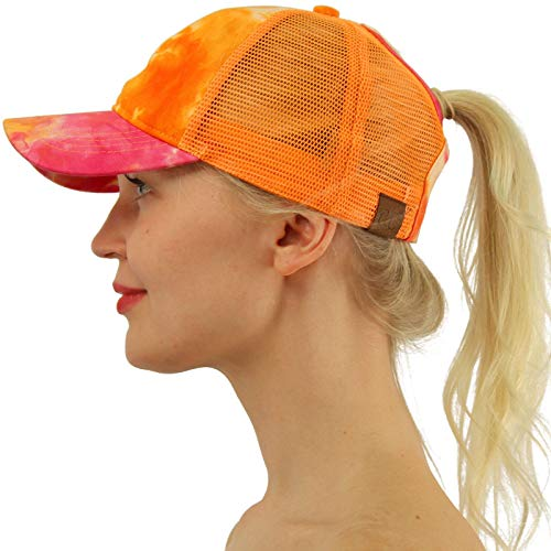 C.C Ponytail Messy Buns Trucker Ponycaps Plain Baseball Visor Cap Dad Hat Tie Dye Orange -