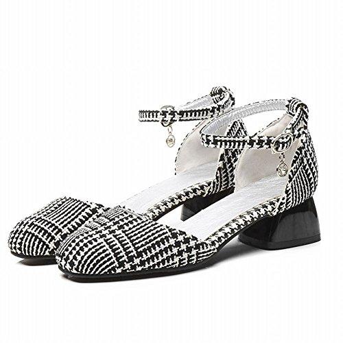 Black Toe Stylish Carolbar Heel Square Court Women's Shoes Buckle Mid Fashion pBfYxTwqv