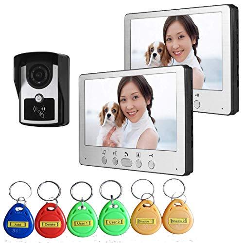 TQ Video intercom doorbell, Wired Video doorbell kit, 7 inch intercom doorbell, ID Card/Indoor Unit Unlock, Waterproof Night Vision,B ()