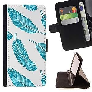 GIFT CHOICE / Billetera de cuero Estuche protector Cáscara Funda Caja de la carpeta Cubierta Caso / Wallet Case for Apple Iphone 5C // Cool Blue Feathers //
