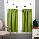 bright green thermal curtains - NICETOWN Half Window Treatment Blackout Curtains- Rod Pocket Tailored Tier /Valance /Cafe Curtains (Double Panels, 29 by 36 Inches, Green)