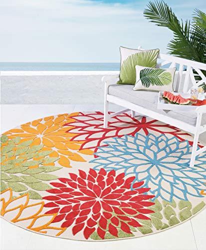 (Nourison Aloha ALH05 Indoor/Outdoor Floral Green 7'10