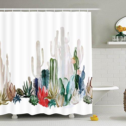 Cactus Shower Curtain Bathroom Curtain Durable Bath Curtain Bathroom Accessories Ideas Kitchen Window Curtain ()