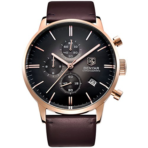 BENYAR Japanese Quartz Waterproof Wrist Watch Business Casual Gentleman Leather Strap Watches for Men