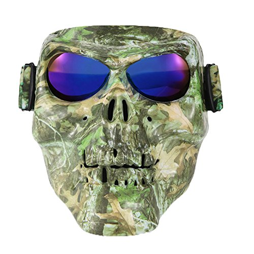 Ishowstore Motorbike Motorcycle Off-Road Riding Goggles Glasses With Skull Face Mask Open Face Helmet (Camo ()