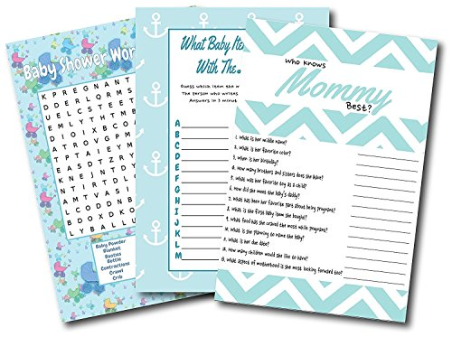 Baby Shower Games For Boys | By L&P Designs | Blue Baby Boy Party Ideas (Word Search, What Baby Item Begins With, and Who Knows Mommy -