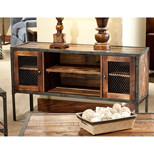 Emerald Home Medium Brown Sofa Table with Solid Wood Top, Two Cabinets, and Open Center Shelving by Emerald Home (Image #1)