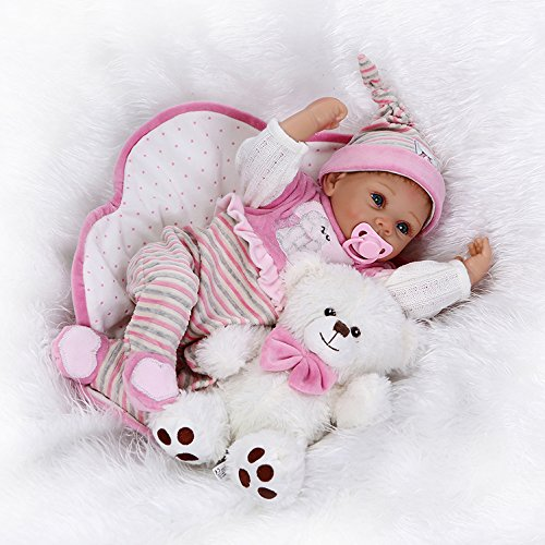 値スポーツNPKDOLL LifelikeリアルなかわいいソフトSiliconeビニールRebornベビーガール人形Toy with Magneticダミーand Bear 22インチ( 55 cm )   B01EJCV0TY