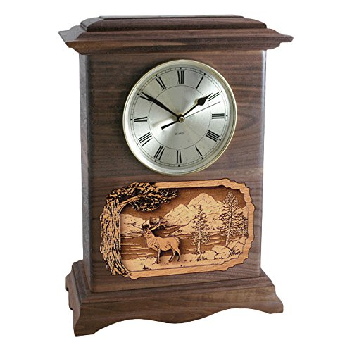 Wood Cremation Urn - Walnut Deer Ambassador Clock