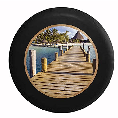 Full Color Wooden Dock in the Tropical Ocean Palm Trees Tiki Hut White Sand Jeep RV Camper Spare Tire Cover Black 35 - Sand Hut