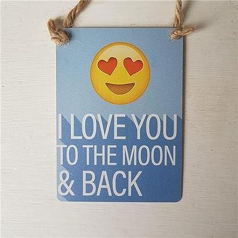 I Love You a la luna y parte posterior Emoji emoction azul ...