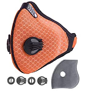 Unigear Dust Mask with 2 Activated Carbon Filters- N95 Respiratory Protection for Anti Pollution, Exhaust Gas, Pollen Allergy, PM2.5, Woodworking,Running, Cycling and Survival (Orange)