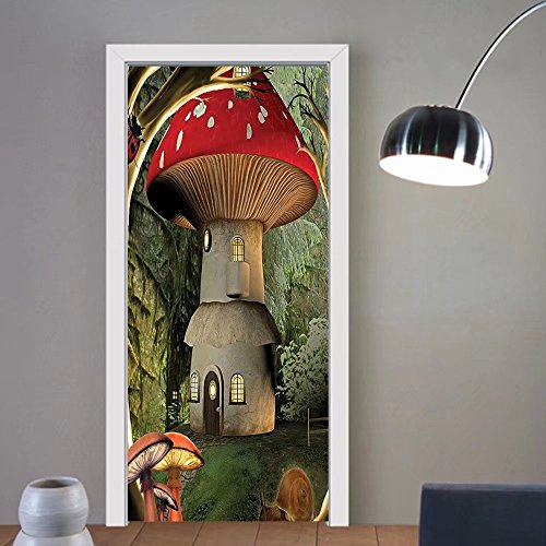 Gzhihine custom made 3d door stickers Mushroom Forest Decor Magic Shroom House in Enchanted Trees with Ladybug Snail Art for Kids Boys Girls Room Red Ivory Olive Green For Room Decor (Olive Kids Outlet)