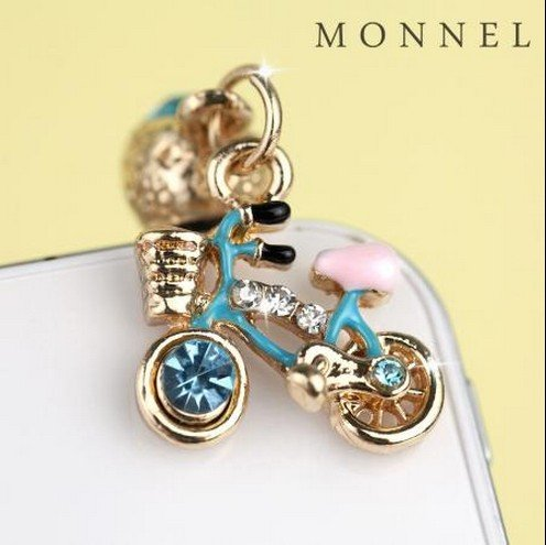 IP652-B Adorable Cute Crystal Blue Bike Bicycle General Mobile Phone Anti Dust Plug Charm for Iphone Android 3.5mm