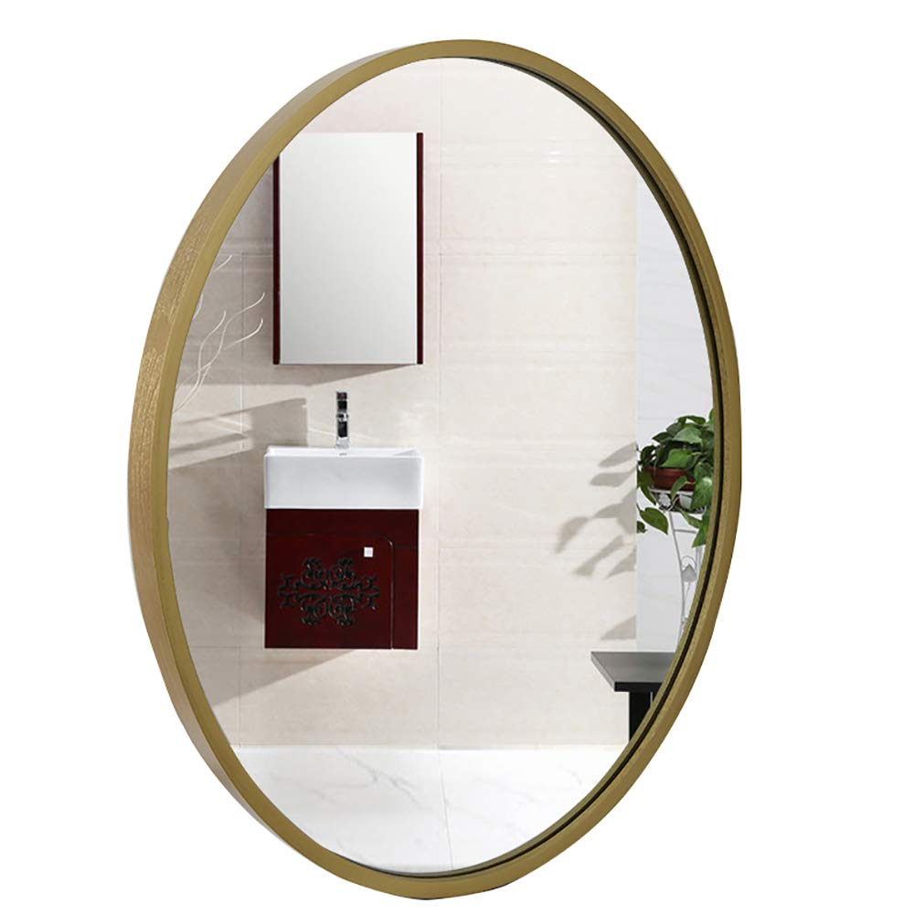"20.8"" x26.7"" Nordic Oval Bathroom Mirror with Solid Wood Border Wall-Mounted Home Decoration Makeup Mirror for Living Room Corridor,Titanium gold"