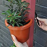 """Hugger - Downspout Flower Pot and Planter That Attaches to Rain Pipe, Fastening Strap Included, approx 7""""w x 6"""" x 7"""", Terracotta"""