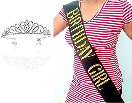 Amazon.com: Cinta de cumpleaños para niña y tiara, con ...