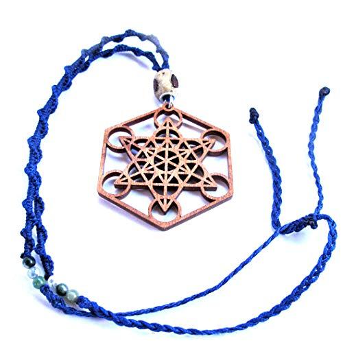 Wood Pendant Necklace Metatron Cube, Long Boho Necklace, Macrame Sacred Geometry Jewelry