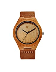 CUCOL Natural Bamboo Wooden Watches For Men Cowhide Leather Strap with Gift Box