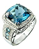 Sterling Silver 925 STATEMENT Ring GENUINE LONDON BLUE TOPAZ 17.75 Carats with RHODIUM-PLATED Finish (8)