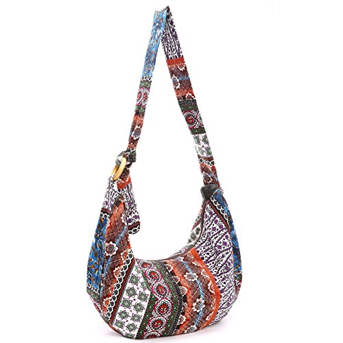 KARRESLY Women's Sling Crossbody Bag Thai Top Handmade Shoulder Bag with Adjustable - Patchwork Messenger