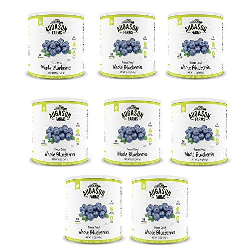 Augason Farms Freeze Dried Whole Blueberries 12 oz No. 10 Can (8 pack) by Augason Farms