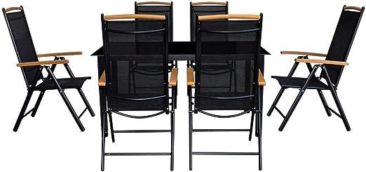xings huoon Line Lounge Mobiliario de jardín jardín de Comedor 7 Piezas. Juego de Muebles de jardín Aluminio Negro Plegable: Amazon.es: Jardín
