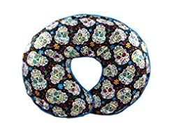 Nursing Pillow Cover Sugar Skulls and Fl...