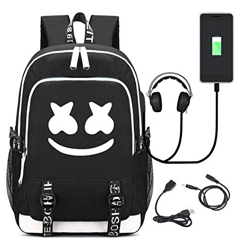 Marshmello Backpack Travel Bag Bookbag Laptop Backpack with USB Charging Port (Black) from XIAOMEI