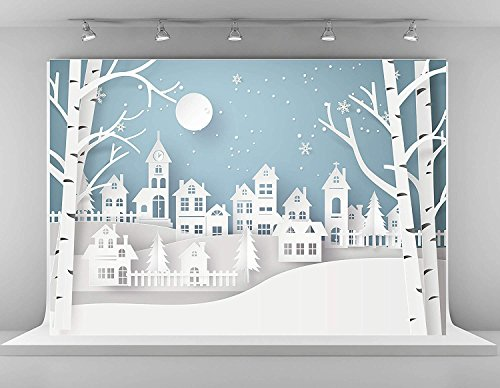 Kate 10x6.5ft Christmas Photography Backdrops Green Sky Moon Background Photo City Backdrop for Baby Shooting Props