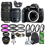 Canon EOS T6i DSLR Camera Bundle with Canon EF-S 18-55mm f/3.5-5.6 IS STM Lens + Tamron Zoom Telephoto AF 70-300mm Lens + Wideangle Lens + Telephoto Lens + 2 PC 32 GB Cards + 6 PC Filter Kit